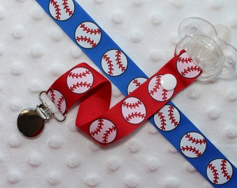 Baseball Pacifier Clip Soothie Holder