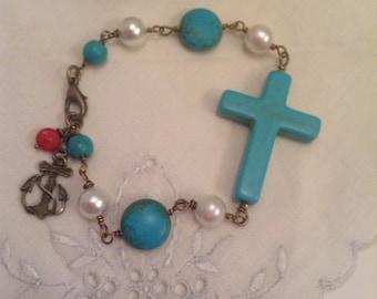 Turquoise Sideways Cross Assemblage Bracelet,OOAK,layering,vintage Pearls