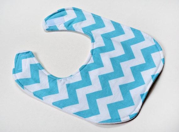 Chevron Baby Bibs, Infant Aqua Girl Bib, Shower Gift, Feeding or Drool Flannel Backing Modern Pattern