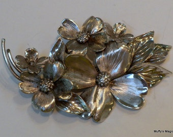 Vintage Sterling Silver Dogwood Flowers Brooch Harry S Bick & Sons