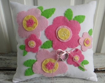 Flower Blossoms. Colorful Wedding Ring Bearer Pillow in Pink