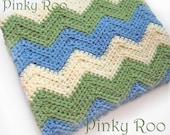 Crochet baby blanket / chevron in Green, Cream and Blue in Stroller Size