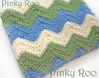 Crochet baby blanket / chevron in Green, Cream and Blue in Stroller Size