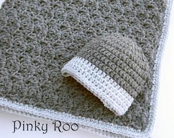 Baby gift set /Crochet baby blanket and hat / Crib size baby blanket and hat in Charcoal and silver grey / baby boy / baby girl