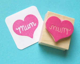 Mum Stamp - Mum Heart Hand Carved Rubber Stamp -  Mothers Day Gift - Mothering Sunday Gift - Gift for Mother - Gift for Mum - Gift for Mom