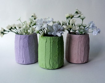 Trio of Vases / Instant collection / Pastel Home Decor / made to order/ set of 3 / pale pink, green, purple vases