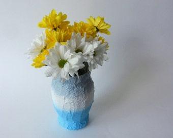 Color Block Vase / blue vase / light gray, blue, white vase /  blue home decor