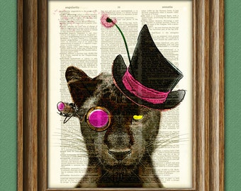 Countess Pettigrew Panther Steampunk Black Panther Cat illustration beautifully upcycled dictionary page book art print