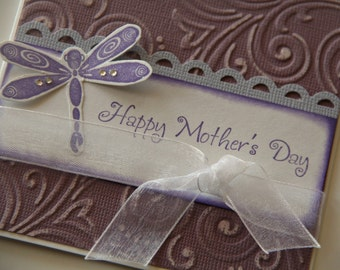 Embossed Mothers Day Card with Dragonfly, Happy Mothers Day Dragonfly, Purple and Lavender Card for Mom (MD1423)