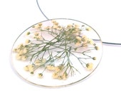 Resin Statement Necklace with White Baby's Breath.  Round Resin Pendant with Real Flowers.  Gift for Gardener, Nature Lover