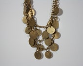 Vintage Brass Dangle Bohemian Necklace with Triple Strands and Multiple Dangling Brass Disks