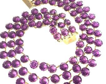 Stunning Art Deco Purple Amethyst Open Back Crystal Festoon Bib Vintage Art Deco Necklace