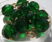 10 - Hand wrapped 8mm Emerald w/Gold Czech Glass Dangles-Charms