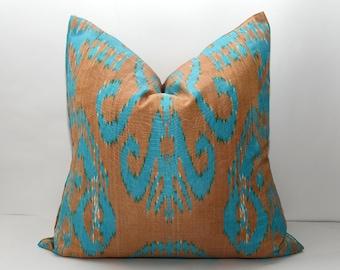 20x20, ikat pillow, blue pillow, brown ikat, blue cushion, ikat fabric, uzbekistan ikat, by SilkWay