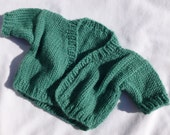 Green Hand Knitted Doll Sweater  -  I have MANY to sell