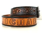 Vintage Tooled Leather Deer Belt // MICHAEL