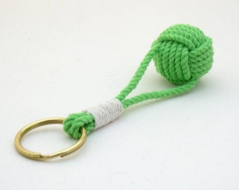 Monkey Fist Keyring Nautical Knot Lime Green Traditional with Split Ring