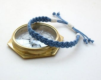 Woven Anklet, Blue Sailor Braid in American Made Cotton Cord