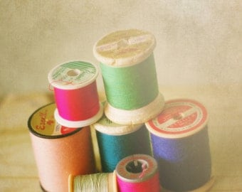 Sewing Room Decor, Thread, Spools, Romantic, dreamy, soft focus highlights, Still Life, Vintage, Nostalgic, Whimsical, Craft, Old bobbins
