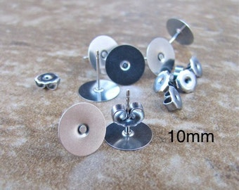 24 pcs 10mm Surgical Stainless Steel Flat Pad Earring Posts and Backs - 12 pairs Precious Supplies jewelry findings supplies