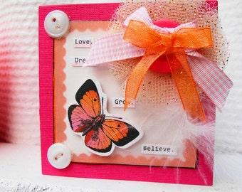 Inspirational Card, Gift Card, For Her, Mini, Love, dream, grow, believe, Note Card, Friendship Card, Handmade Card