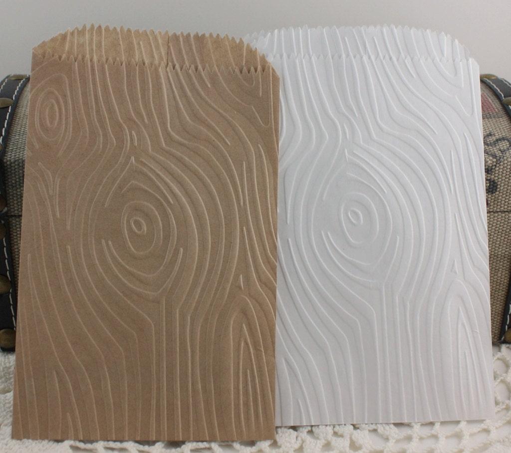 25 wood grain wedding favor bags rustic embossed bags