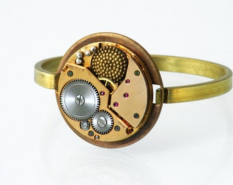 Steampunk Bangle, Red Brass Vintage Watch Movement - Steampunk Bracelet