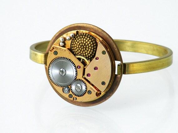 Steampunk Bangle with Vintage Watch Mechanism | Steam Punk Bangle | Torch Soldered Vintage Watch Movement Steampunk Bracelet - Medium Size
