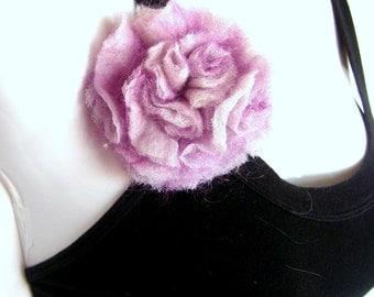 Nuno Felted Flower Brooch Hair Pin Pastel Purple Pale Lavender