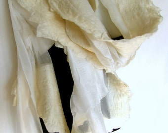Nuno Felted Scarf, Ruffled, Wavy, White, Silk Merino Wool Felted Scarf With 3D Ruffles, Wedding Scarf, Bridal Scarf
