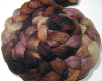 Polwarth wool & tussah silk hand dyed roving 4.3 oz Fairy Queen - hand painted spinning and felting fiber - wool roving