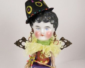 "Art Doll, ""Penny"", Assemblage Art Angel, Neon Color Art Doll Assemblage"