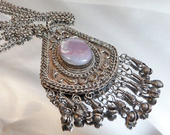 Vintage Purple Charoite Necklace. Silver Plate over Base Metal. Ornate Handmade Necklace. Egyptian Revival. Middle Eastern.