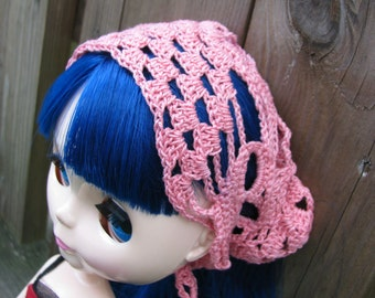 Pink Skull head scarf Shawl for Dolls fit Blythe and Pullip size LARGE
