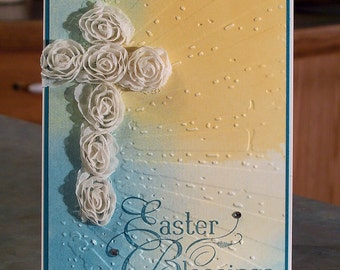 "Stampin Up Easter Blessings Card - 4.25"" x 5.5"" - Silk Flower Trim Cross - Hand Stamped Phrase with Embossed Background"