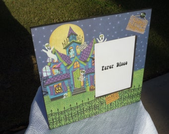 Haunted Mansion Halloween Picture Frame, Halloween, Mansion, Haunted, Spooky, Frankenstein, Witches, Bats, Photo frame