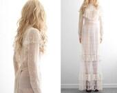 Crochet Lace Wedding Dress Crochet Dress Lace Dress Victorian Bohemian Wedding Dress Boho Wedding Dress Vintage Crochet Dress Wedding XS S