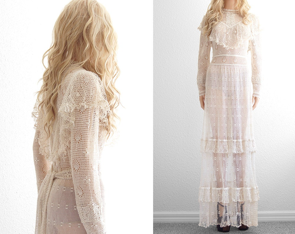Vintage 70s Hippie Prairie Girl Wedding Dress Gown S M: Crochet Lace Wedding Dress Crochet Dress Lace Dress Victorian