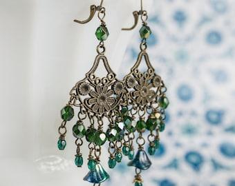 Peacock Earrings Emerald Green Bridal Antiqued Brass by MinouBazaar