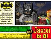 Lego Batman & Robin Digital Birthday Invitation