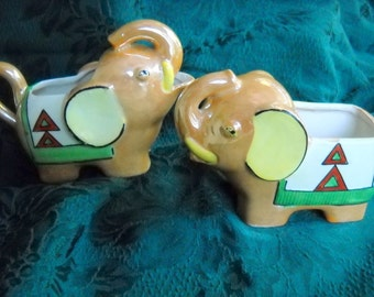 Art Deco Luster Elephants Sugar and Creamer