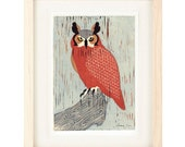 GREAT HORNED OWL Linocut Reproduction Art Print: 4 x 6, 5 x 7