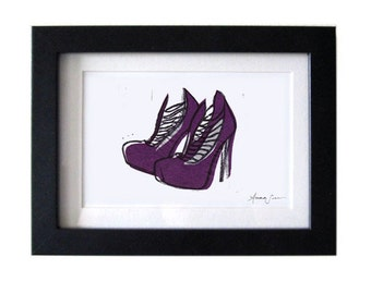Brian Atwood Purple LOLA Shoes Original Hand-Pulled Linocut Block Print 5 x 7