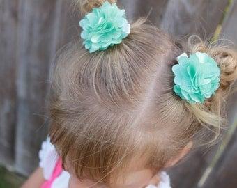 mesh pom clips on alligator clips you choose colors gift for girl wedding flower girl baby toddler piggy tails girls hair clips mesh pom