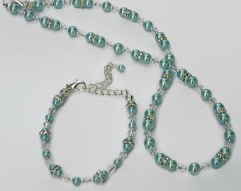 Teal Aqua Pearl Swarovski Crystal Necklace Bracelet, Gifts for Women Under 50, Wedding Jewelry, Bride Bridesmaid, Black Friday, Cyber Monday
