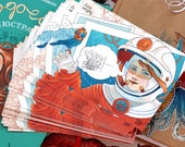 Retro und Steampunk illustrierte Postkarte: Astronautin