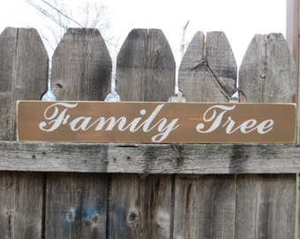 Hand Painted  Family Tree wood Sign  Custom Colors Shabby Cottage Script Wedding, Family Photos