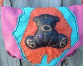 SALE!!! was 120.00 now 85.00 Pink colored Deerskin Leather Purse/Shoulder Bag Cute handmade Teddy Bear design