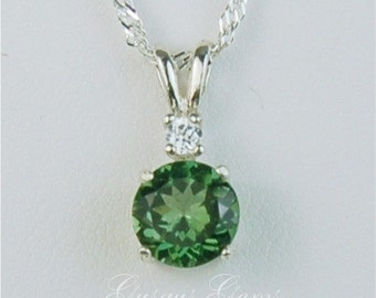 Green Apatite Necklace Sterling Silver 7mm 1.40ct