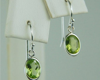 Peridot Dangle Earrings Sterling Silver 7x5mm Oval 1.70ctw Backset Drop Natural Untreated